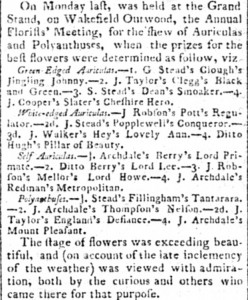Auricula and Polyanthus Show 1809